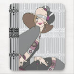 Shelby, 1930s Lady in Gray and Rose Mouse Pad