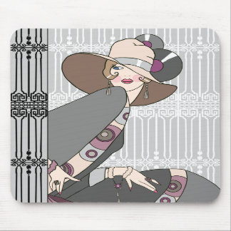 Shelby, 1930s Lady in Gray and Rose Mousepads