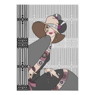 Shelby, 1930s Lady in Gray and Rose Poster