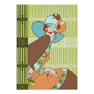 Shelby 1930s Lady in Kiwi and Brown Posters