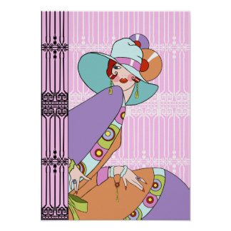 Shelby 1930s Lady in Lilac and Lavender Posters