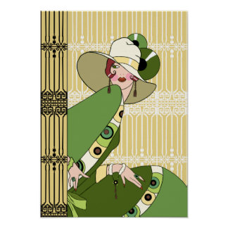 Shelby 1930s Lady in Yellow and Olive Posters