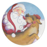 Shelby and Santa / Plate