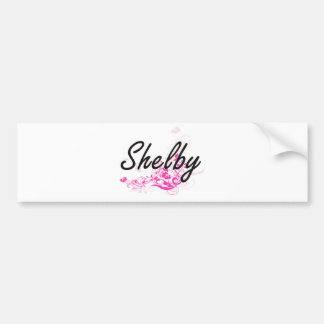 Shelby Artistic Name Design with Flowers Car Bumper Sticker
