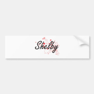 Shelby Artistic Name Design with Hearts Car Bumper Sticker