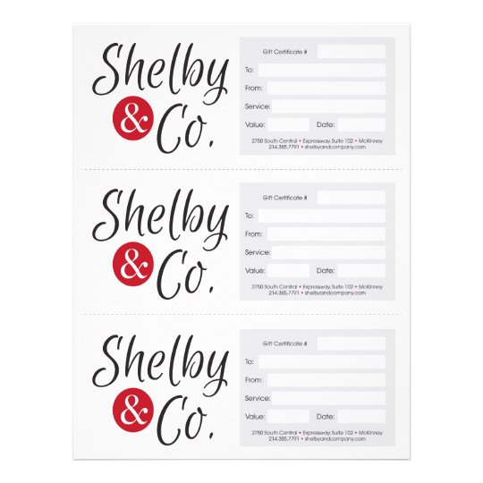 shelby & co. gift certificates flyer