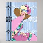 Shelby, señora de los años 20 en azul y rosa impresiones