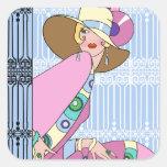 Shelby, señora de los años 20 en azul y rosa pegatina cuadradas