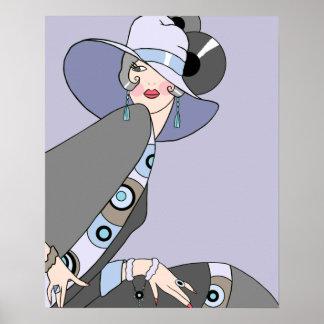 Shelby, señora de los años 20 en de color de malva póster