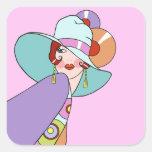 Shelby, señora de los años 20 en lila y lavanda calcomanias cuadradas