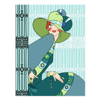Shelby, señora de los años 30 en aguamarina y postal