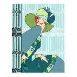 Shelby, señora de los años 30 en aguamarina y trul tarjeta postal