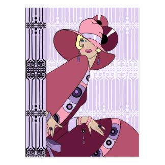 Shelby, señora de los años 30 en lavanda y vino tarjetas postales