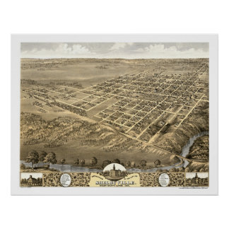 Shelbyville, IL Panoramic Map - 1869 Poster