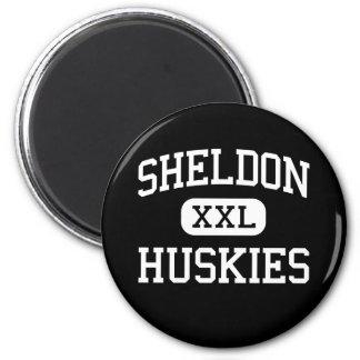 Sheldon - perros esquimales - alto - Sacramento Ca Imán Redondo 5 Cm