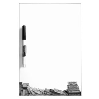 Shelf of Books: Realism Pencil Drawing: Reading Dry-Erase Board
