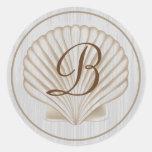 Shell B Monogram Round Stickers