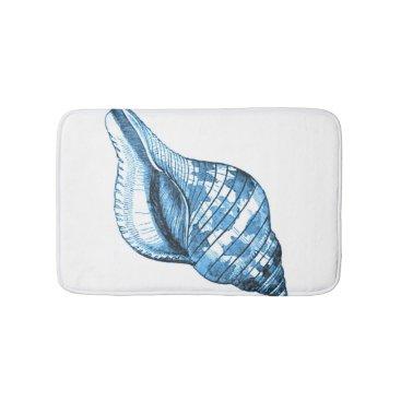 Beach Themed Shell beach coastal ocean blue white bath mats