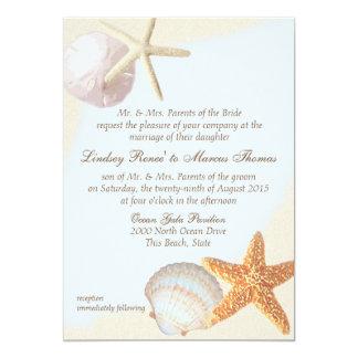 Shell Beach Starfish Wedding 5x7 Paper Invitation Card