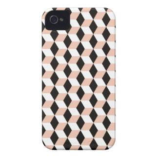 Shell, Black & White 3D Cubes Pattern iPhone 4 Cover