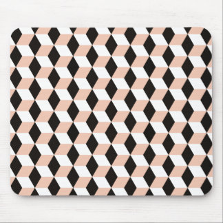 Shell, Black & White 3D Cubes Pattern Mouse Pad