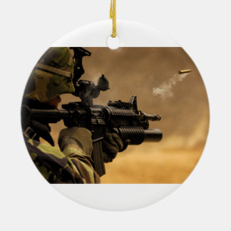 Shell Casing Fired from an M-4 Rifle Double-Sided Ceramic Round Christmas Ornament