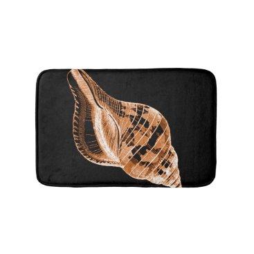 Beach Themed Shell coastal nautical ocean black bath mats
