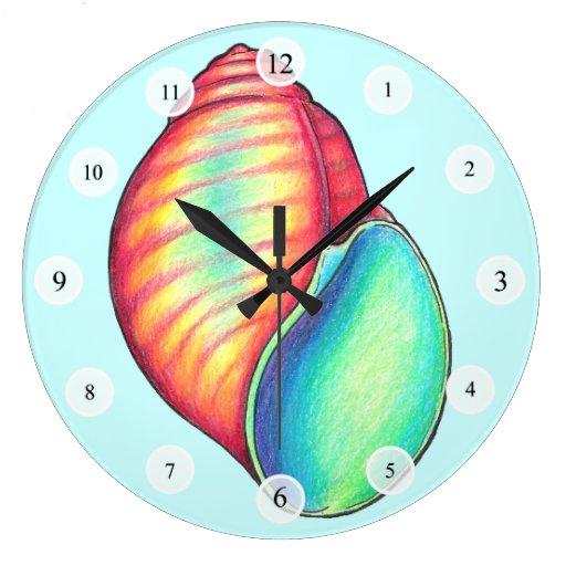 Shell colorido registra reloj redondo grande