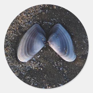 Shell con alas pegatina redonda