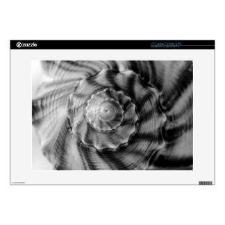 Shell espiral, blanco y negro, portátil calcomanía