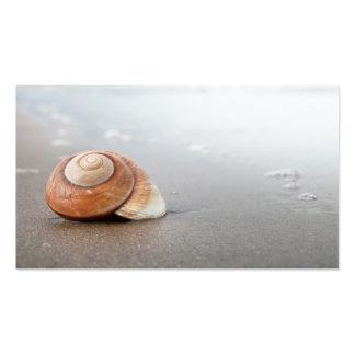 Shell espiral en la playa de Sandy cerca del mar Tarjetas De Visita