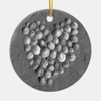Shell Heart Mosaic Ceramic Ornament
