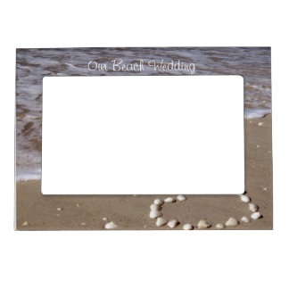 Shell Heart on Sand Beach Magnetic Photo Frame
