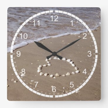 Valentines Themed Shell Heart on Sand Beach Square Wall Clock