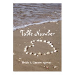 Shell heart on sandy beach reception place cards large business cards (Pack of 100)
