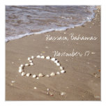 Shell Heart on the Sandy Beach Personalized Announcements