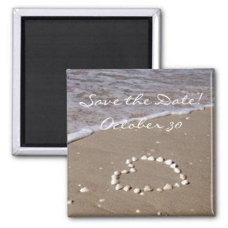 Shell Heart on the Sandy Beach Magnet