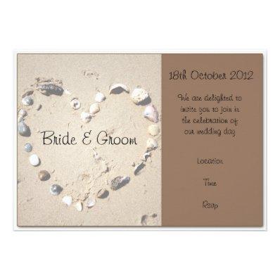 Shell Love Heart Brown Wedding Invitation Custom Announcement