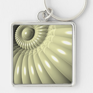 Shell of Repetition Silver-Colored Square Keychain