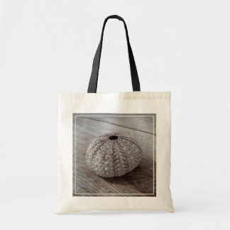 Shell On Top Of A Wooden Table Tote Bag