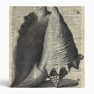 Shell Over Vintage Dictionary Book Page Binder