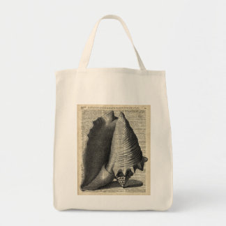 Shell Over Vintage Dictionary Book Page Tote Bag