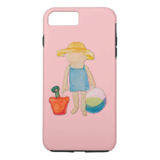 Shell Pink Toddler Baby Girl at Beach iPhone 7 Plus Case