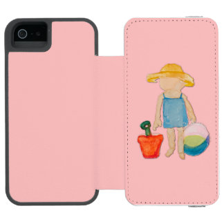 Shell Pink Toddler Baby Girl at Beach iPhone SE/5/5s Wallet Case
