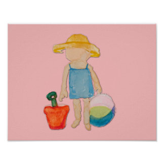 Shell Pink Toddler Baby Girl at Beach Poster