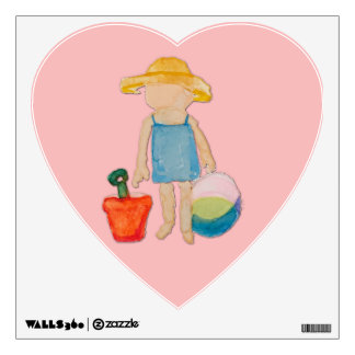 Shell Pink Toddler Baby Girl at Beach Wall Sticker