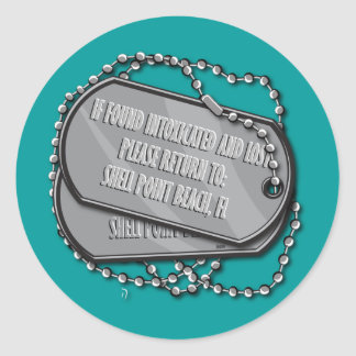 Shell Point Dog Tag Classic Round Sticker