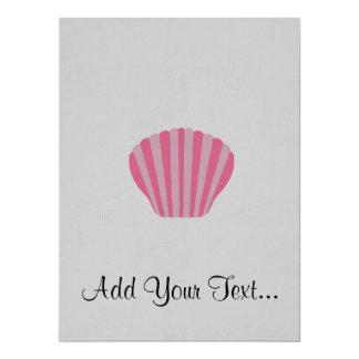 "Shell rosado invitación 6.5"" x 8.75"""