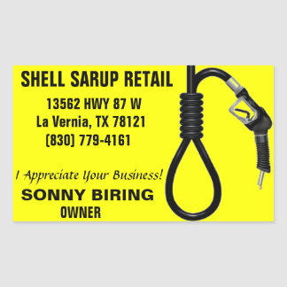 SHELL SARUP RETAIL RECTANGLE STICKERS