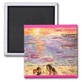 shell seekers at sunset 2 inch square magnet